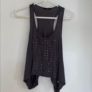 GREY CROP FLOWY TANK WITH SILVER EMBELLISHMENTS
